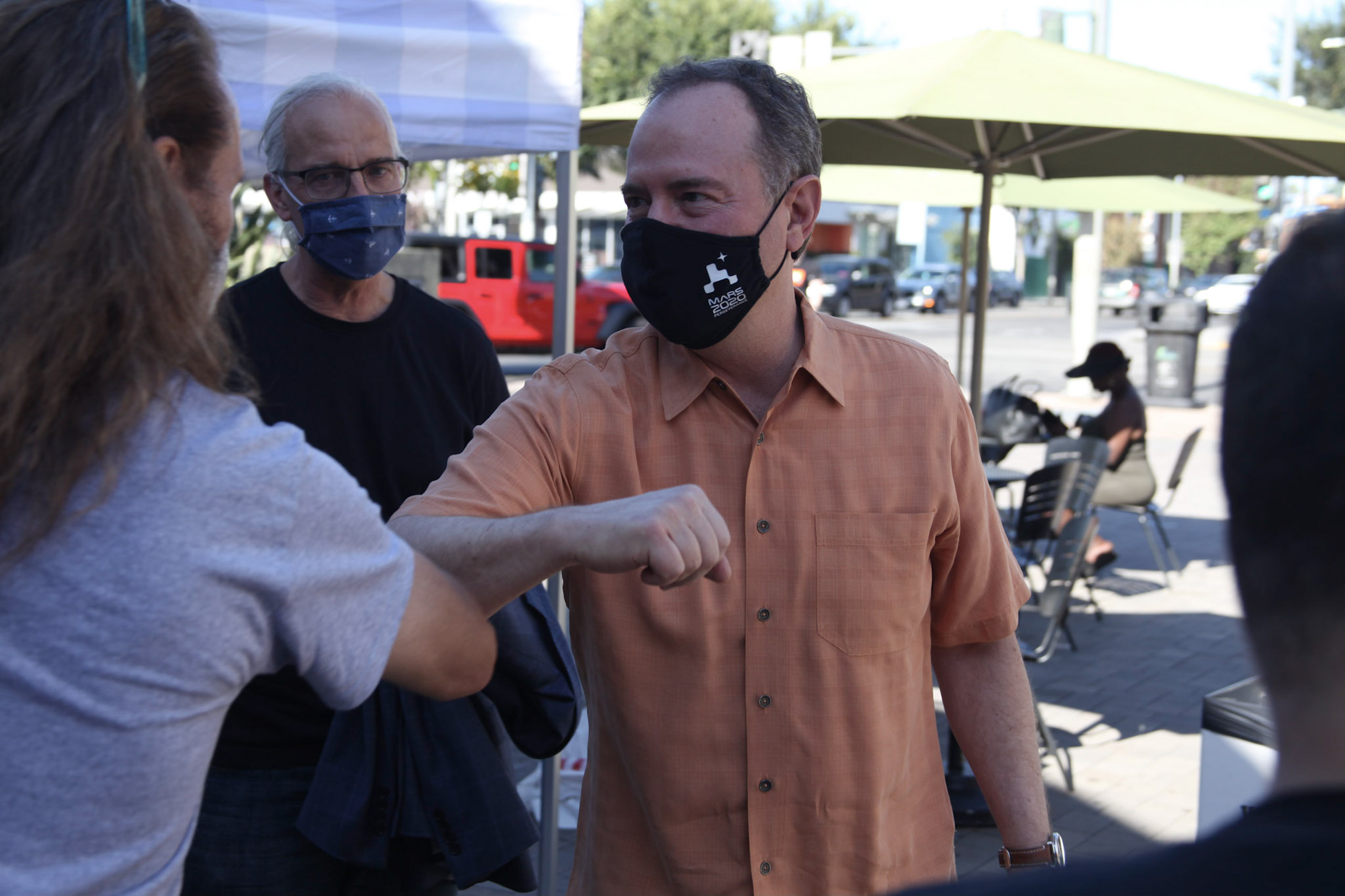 Adam Schiff wearing a protective mask