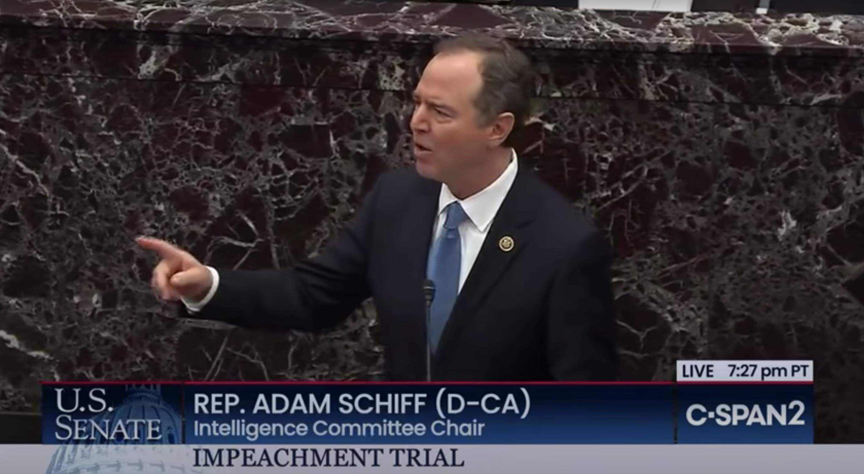 Adam Schiff speaking at Trump Impeachment Trial